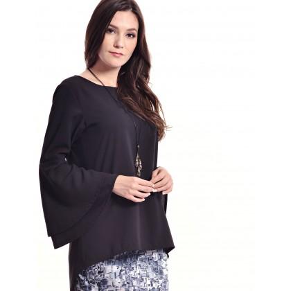 black flare sleeve slim baju kurung