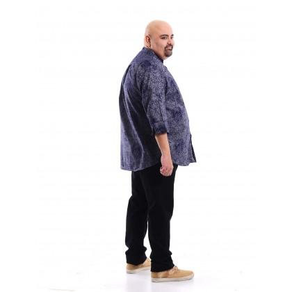 3/4 sleeve printed chambray shirt in navy