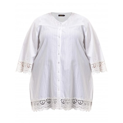 3/4 sleeve embroidery kurti tunic with crochet lace in white