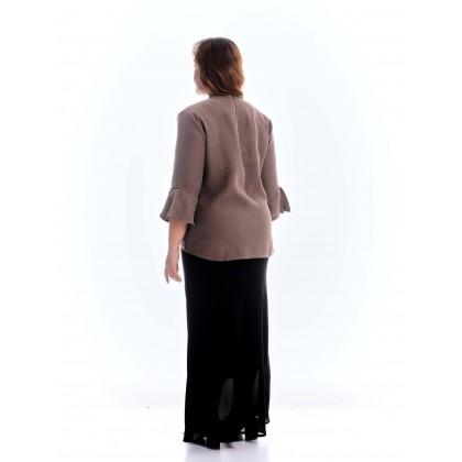 3/4 sleeve kurung top in dark brown